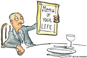 """Man holding menu titled """"Meun for your life"""""""