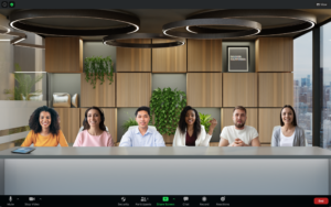 Six students in a Zoom window that looks like a conference room.
